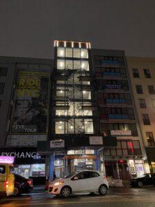 bowery facade at night progress